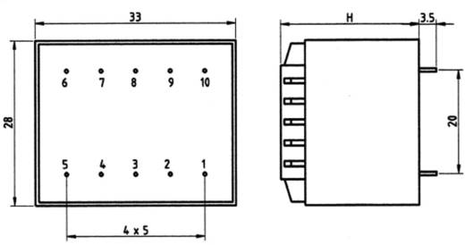 Transzformátor 2,3VA 230V / 12V / 192MA