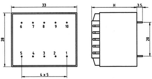 Transzformátor 1,5VA 230V / 2X9V / 83MA