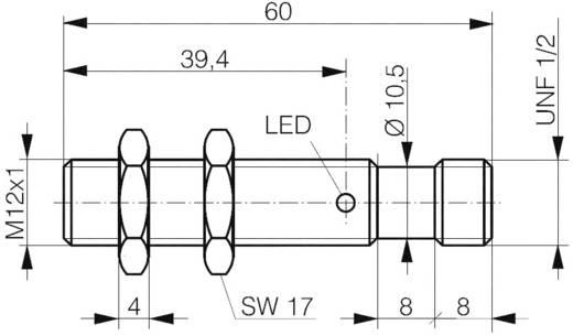Induktív közelítés kapcsoló M12, kapcsolási távolság: 2 mm, Contrinex DW-AS-607-M12-069