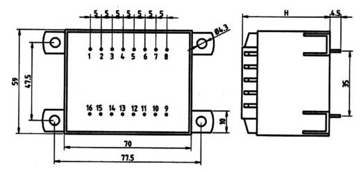 Transzformátor 36,0VA 230V / 12V / 3,00A