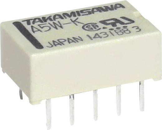 Szubminiatűr lapos relé Takamisawa A5WK5V 0,5 A/125 V/AC, 1 A/30 V/DC, 5 V/DC, 1000 MΩ, A5WK5V, 2 váltó, Ag + Au