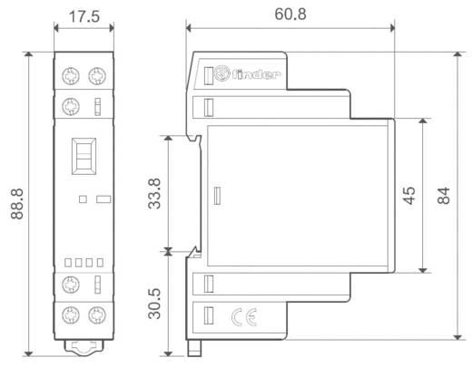Védőkapcsoló 1 záró/1 nyitó (30/110/220 V) 25/5/1 A, Finder 22.32.0.024.4540