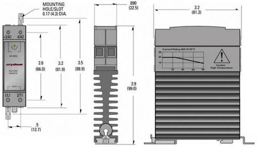 Elektronikus teljesítmény relé, DIN kivitelű, 20 A 24 - 280 V/AC, Crydom CKRA2420