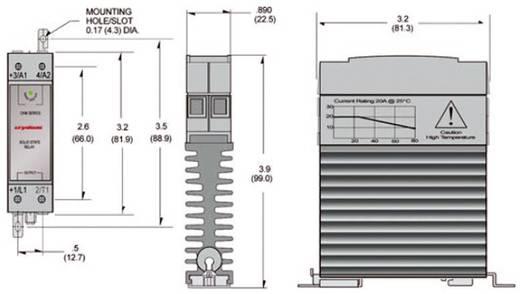 Elektronikus teljesítmény relé, DIN kivitelű, 20 A 0 - 60 V/DC, Crydom CKM0620