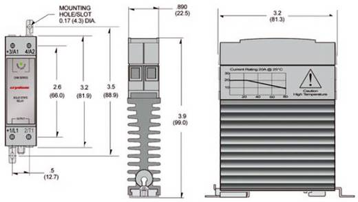 Elektronikus teljesítmény relé, DIN kivitelű, 30 A 0 - 60 V/DC, Crydom CKM0630