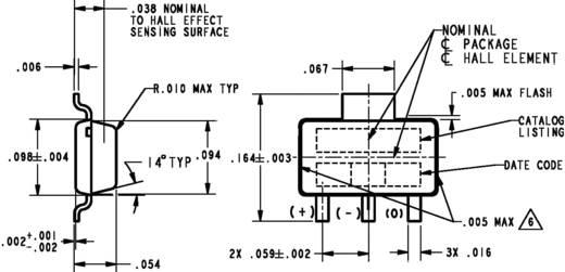 Honeywell lineáris helyzetérzékelő, 2,7-6,5V/DC, SOT 89 B, SS59ET