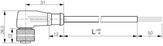 Csatlakozókábel 2 m, 3 pólusú közelítő kapcsolóhoz, könyök, Ø 14,5 x 2 mm, Contrinex S13-3FUW-020