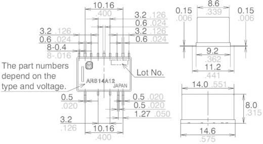 Nagyfrekvenciás relé ARS 3 GHz, SMD Panasonic ARS14A4H 30 V/DC, 500 mA, monostabil, 4,5 V/DC, 1 váltó, aranyozott
