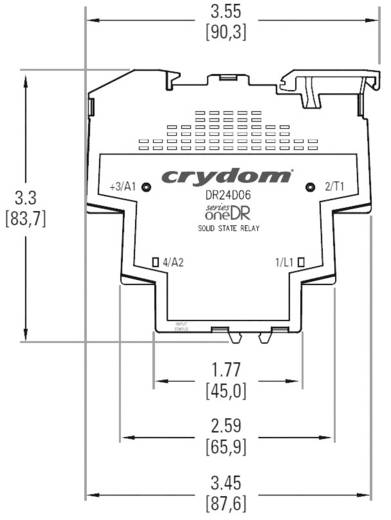 Elektronikus teljesítményrelé DIN sínre szereléshez, Crydom DR24D03R kimenet 3 A 24 - 280 V/AC