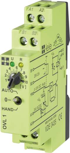 Csatoló relé modul 24 V/AC/DC, 0-10 V 1 váltó 5 A, TELE OVL1