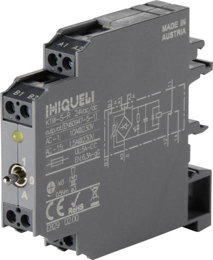 Csatoló relé modul 12 mm 1 váltó 10 A, Hiquel K1W-S-R 24Vac/dc