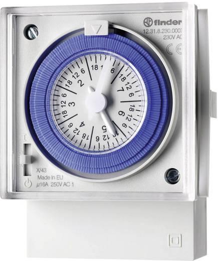 Mechanikus időkapcsoló óra előlapi szereléshez 230 V/50-60 Hz, 1 váltó 16 A 250 V/AC 4000 VA, Finder 12.31.8.230.0007