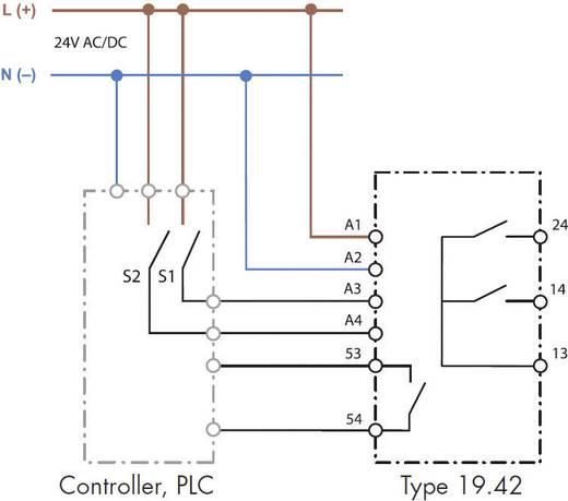 Beavatkozó relé, Auto-Off-Low-High, 1 záró/2 záró 100 mA/5 A, Finder 19.42.0.024.0000