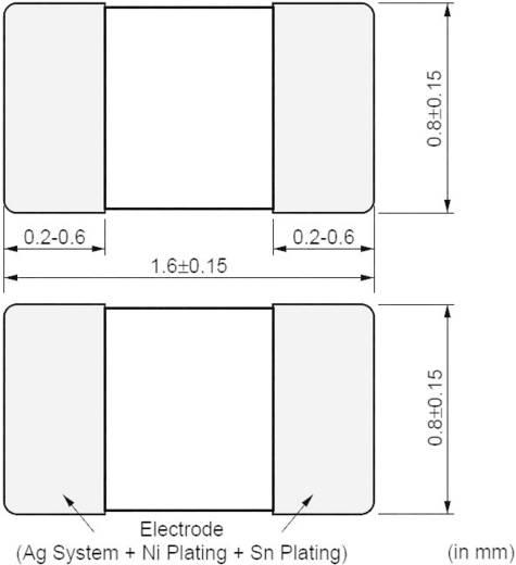 NTC termisztor chip kivitelben -40 - +125 °C, ház típus: 0603 (1608), Murata NCP18WF104J03RB