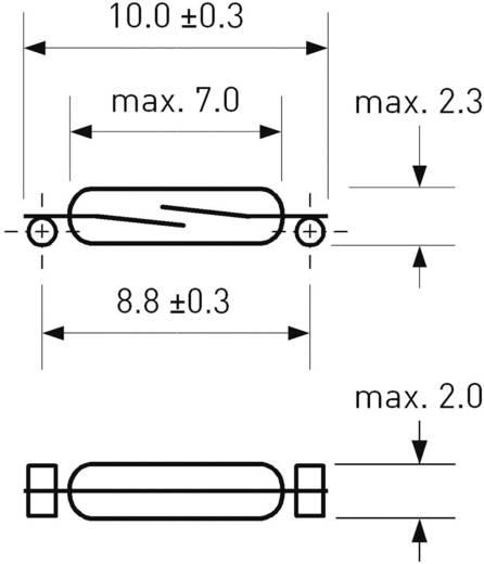SMD Reed kapcsoló 1 záró 0,5 A 150 V/DC/ 120 V/AC 10 W, PIC PMC-0701TS
