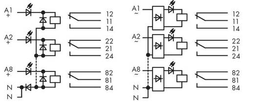 Relé modul, 8 relé 1-1 váltó 250 V, WAGO 287-834