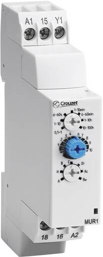 Elektronikus időrelé 12 - 240 V DC/AC, 1 váltó 8 A DC/AC 250 V DC/AC 2000 VA/ 80 W, Chronos 2 Crouzet MUR3