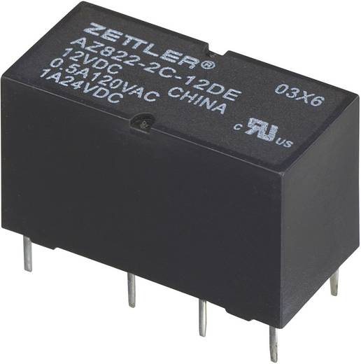 Szubminiatűr DIP relé 3 V/DC 2 váltó, 1 A 24 V/DC/120 V/AC, Zettler Electronics AZ822-2C-3DSE