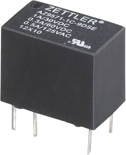 Szubminiatűr nyák relé 12 V/DC 1 váltó, 1 A, 60 V/DC/125 V/AC, Zettler Electronics AZ9571-1C-12DE