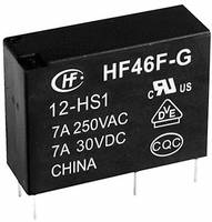 Hálózati relé 24 V/DC 1 váltó, 10 A 30 V/DC/ 277 V/AC 2770 VA/ 300 W, Hongfa HF46F-G/024-HS1 (HF46F-G/024-HS1) Hongfa