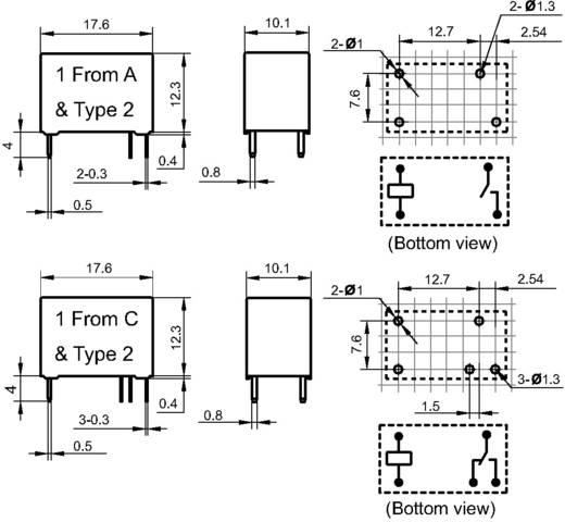 Hálózati relé 12 V/DC 1 záró, 5 A 30 V/DC/250 V/AC 1250 VA/150 W, Hongfa HF32FA/012-HSL2 (610)