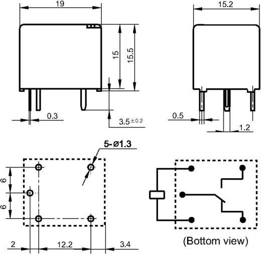 Kocka relé 12 V/DC 1 váltó, 10 A, 30 V/DC/ 277 V/AC, 2770 VA/ 300 W, Hongfa HF3FA/012-ZTF