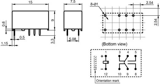 Szubminiatűr jelző relé 12 V/DC 2 váltó, 2 A, 220 V/DC/250 V/AC, 10 mV/10 µA/, 62.5 VA/60 W, Hongfa HFD3/012