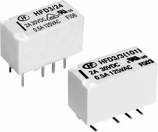 Szubminiatűr jelző relé 5 V/DC 2 váltó, 2 A, 220 V/DC/250 V/AC, 10 mV/10 µA/, 62.5 VA/60 W, Hongfa HFD3/005-L2