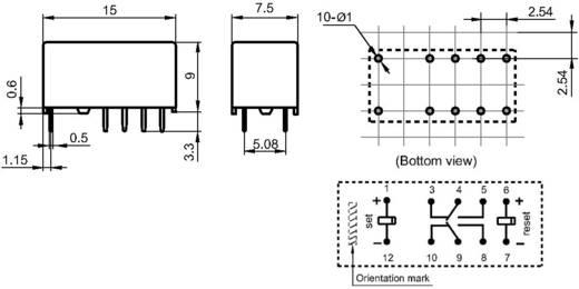 Szubminiatűr jelző relé 24 V/DC 2 váltó, 2 A, 220 V/DC/250 V/AC, 10 mV/10 µA/, 62.5 VA/60 W, Hongfa HFD3/024-L2