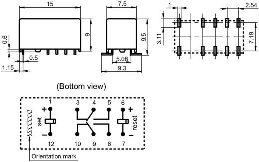 SMD jelző relé 12 V/DC 2 váltó, 2 A 220 V/DC/250 V/AC 10 mV/10 µA/ 62.5 VA/60 W, Hongfa HFD3/012-L2S