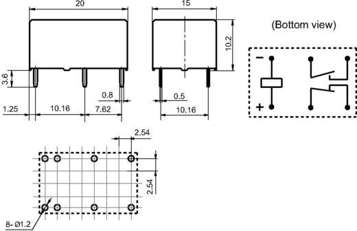 Miniatűr teljesítmény relé 12 V/DC 1 záró/1 nyitó 8 A 277 V/AC 2000 VA, Hongfa HFE7/012-1HDST