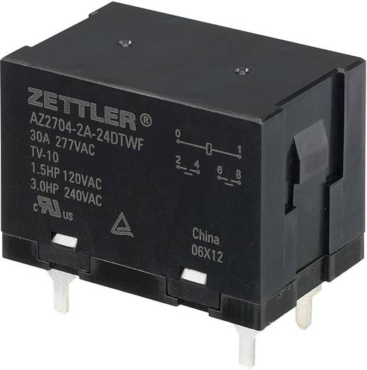 Nagyteljesítményű relé 24 V/DC, 2 záró 30 A 150 V/DC/440 V/AC 840 W/8310 VA Zettler Electronics AZ2704-2A-24DTWF