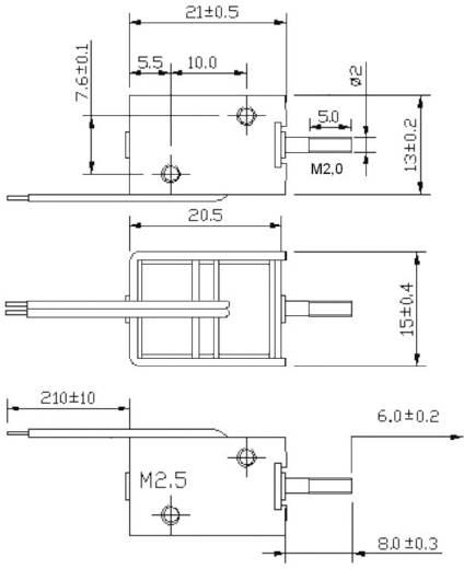 Bistabil kétirányú mozgató mágnes 12 V/DC 2/8 N, rögzítés M2,5, HMB-1513.001-12VDC
