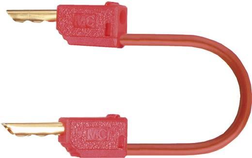 Mérőzsinór, mérővezeték 2db 2mm-es banándugóval 0.5 mm² PVC, 0.30m piros MultiContact LK2-F
