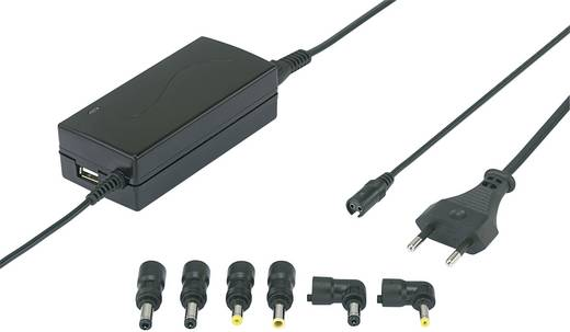 Univerzális notebook adapter, BASIC LINE, 9.5V/12V/15V/18V/19V/20V / 3,3 A, max 45, Voltcraft WNPS-45 USB