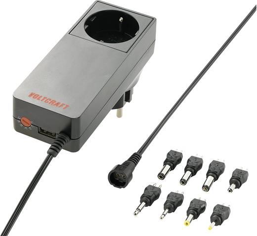 Univerzális hálózati adapter, dugasztápegység, konnektor aljzattal, USB töltővel 5 - 24 V/DC 3000mA Voltcraft PLUG-18W