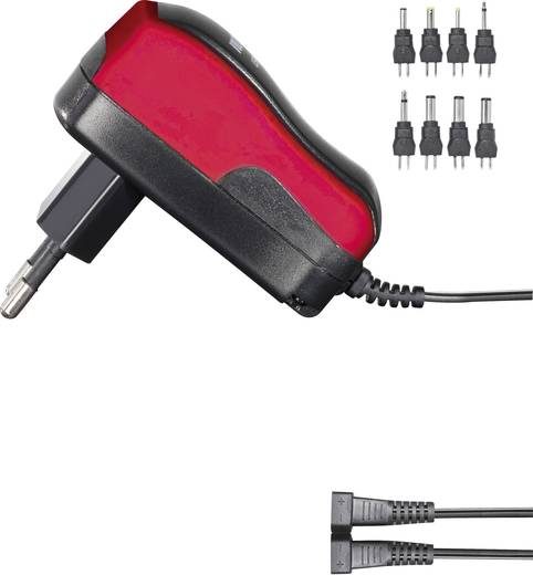 Univerzális hálózati adapter, dugasztápegység 3 - 12 V/DC 600mA energiatakarékos, piros Voltcraft USPS-600 red
