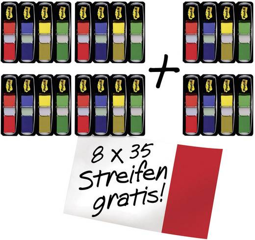 Post-it készlet 43,2 x 11,9 mm, piros, kék, sárga, zöld, FT600002966 3M 1 csomag