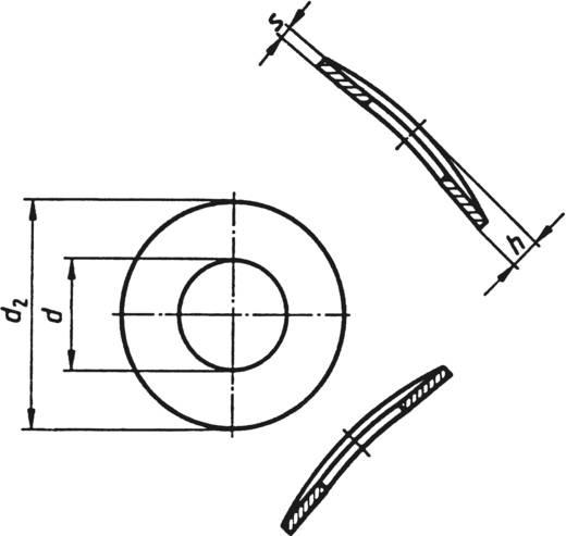 Toolcraft rozsdamentes feszítőalátét M2,5, DIN 137 V2A, 100 db