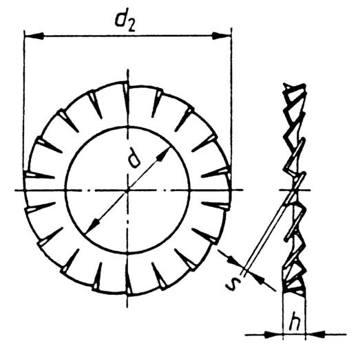Toolcraft rugóacél fogazott alátét, külső fogazású, M6, DIN 6798, 100 db
