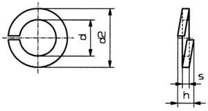 Horganyzott acél rugós alátét M2, DIN 127, 100 db, Távtartó, 10 db, Toolcraft  TOOLCRAFT