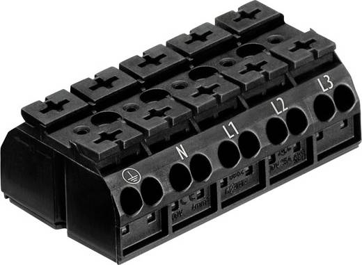 Szigetelt sorkapocsblokk 5 pólusú, 0,5 - 4 mm² 32A, fekete, WAGO 862-1505