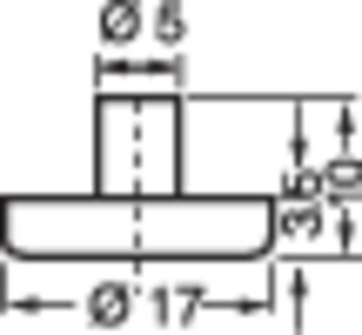 Furatba nyomható műszerláb, kerek Ø 17 x 3,5 mm, fekete, 4003