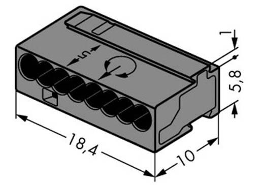 Mikró vezetékösszekötő 8 vezetékes, 0,6 - 0,8 mm² 6A, sötétszürke, 1 db, WAGO 243-208