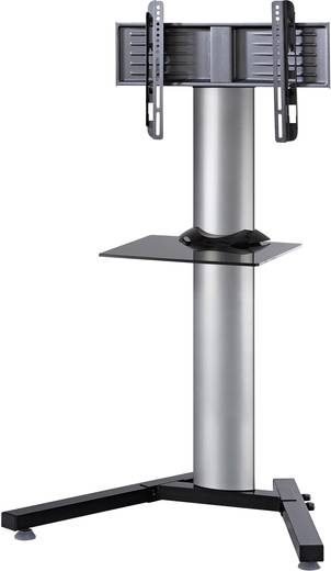 TV tartó állvány alumíniumból, fekete üvegpolccal, ezüst színben VCM Stadino Mini 17036