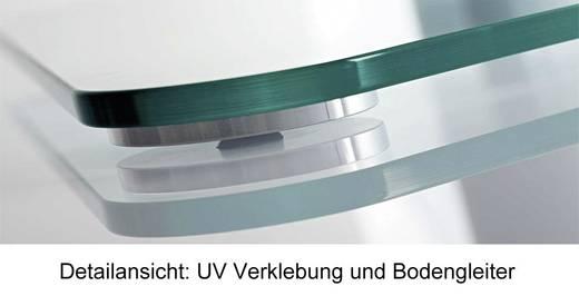 TV tartó állvány alumíniumból, fekete üvegpolccal, ezüst színben VCM Findal 17040