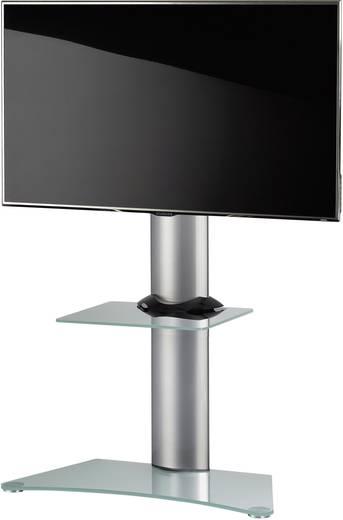 TV tartó állvány alumíniumból, fefér üvegpolccal, ezüst színben VCM Findal 17045