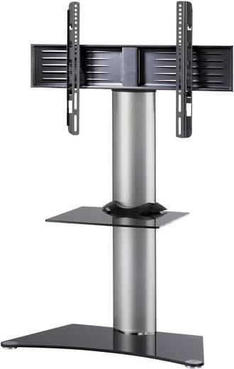 TV tartó állvány alumíniumból, fekete üvegpolccal, ezüst színben VCM Zental 17060