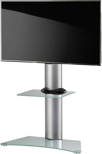 TV tartó állvány alumíniumból, fehér üvegpolccal, ezüst színben VCM Zental 17065
