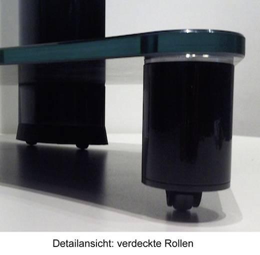 TV tartó állvány alumíniumból, fekete üvegpolccal, ezüst színben VCM Bilano 17090